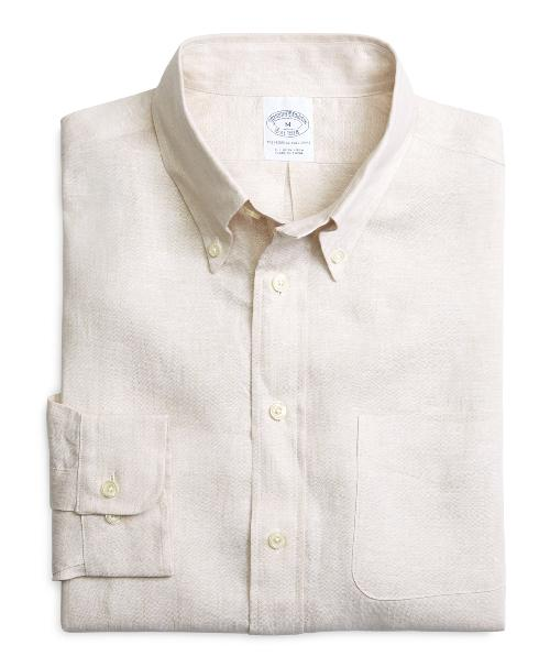 Slim Fit Solid Linen Sport Shirt by Brooks Brothers in Fast & Furious 6