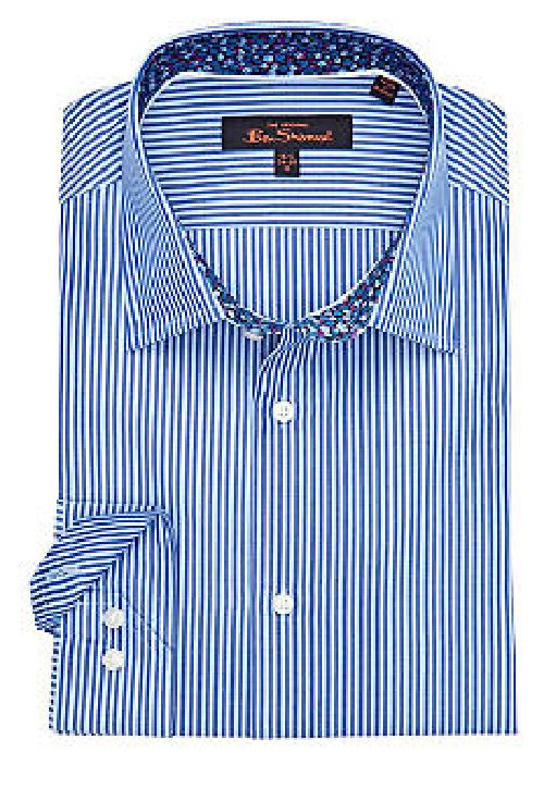 Slim Fit Kings Stripe Florentine Dress Shirt by Ben Sherman in Crazy, Stupid, Love.