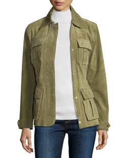Neiman Marcus - Snap-Front Safari Suede Jacket