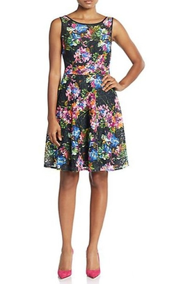 Betsey Johnson  - Lace Floral Print A Line Dress