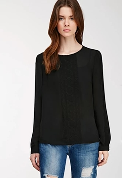 Forever 21 - Embroidered Mesh-Paneled Blouse