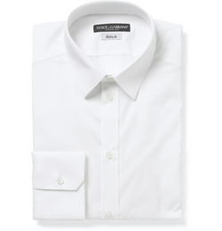 Dolce & Gabbana   - White Gold-Fit Cotton-Blend Shirt
