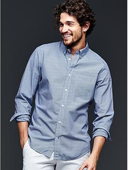 Gap - Lived-In Wash Microcheck Shirt