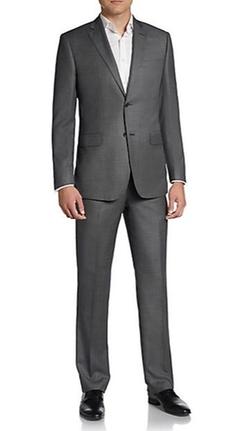 Saks Fifth Avenue BLACK  - Regular-Fit Crowsfoot Wool Suit