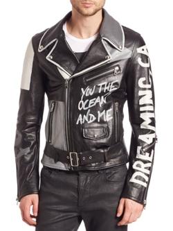 Diesel Black Gold  - Graffiti-Print Leather Jacket