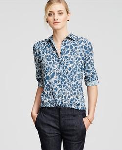 Ann Taylor - Petite Shadow Floral Camp Shirt