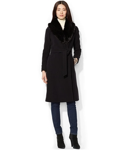 Lauren Ralph Lauren  - Faux-Fur-Trim Wool-Cashmere Belted Coat