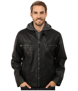 Calvin Klein - Faux Leather Hoodie Jacket