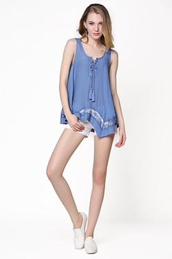 Victoria Amazonica - Lace-Up Front Tank Blouse