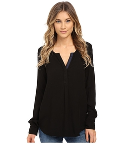 Three Dots - Sonia Contrast Henley Top