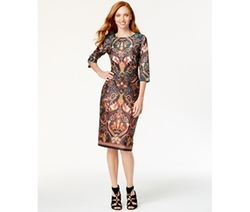 ECI  - Paisley-Print Midi Sheath Dress