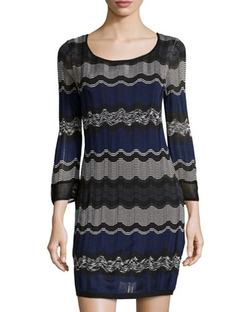 Laundry Bsxy Shelli Segal   - Striped Long-Sleeve Sweaterdress
