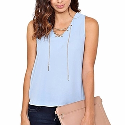 Styles For Less - Chain Lace Up Woven Top
