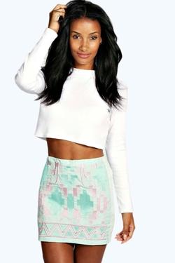 Boohoo - Rita Aztec Embroidered Skirt