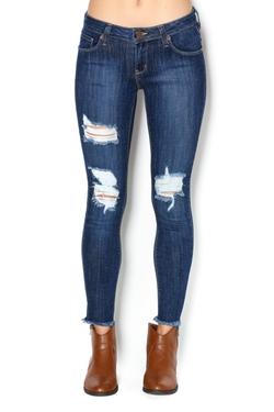 W I L L I A M B - Distressed Frayed-Hem Skinny Jeans