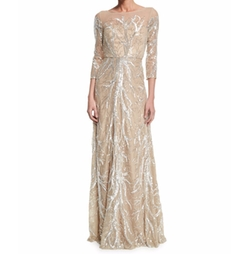 David Meister - Illusion-Neck Beaded Gown