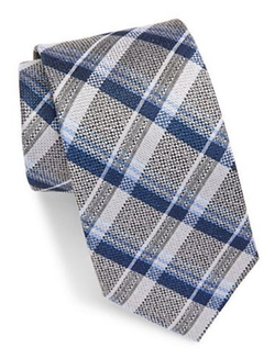 Black Brown 1826  - Textured Plaid Silk Tie
