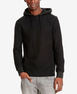 Kenneth Cole Reaction - Faux Leather Perforated Hoodie