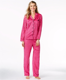 Charter Club  - Minky Notch Collar Top and Pajama Pants Set