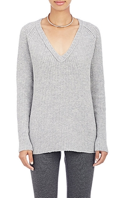 ATM Anthony Thomas Melillo - Cozy Rib-Knit V-Neck Sweater
