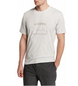 Brunello Cucinelli - Academia-Print Short-Sleeve Jersey T-Shirt