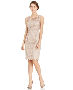 Adrianna Papell - Sleeveless Lace Sheath Dress