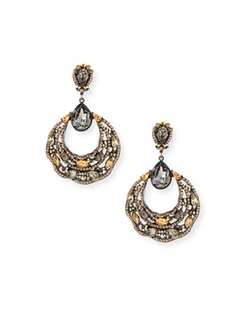Jose & Maria Barrera - Beaded Filigree Hoop Drop Earrings