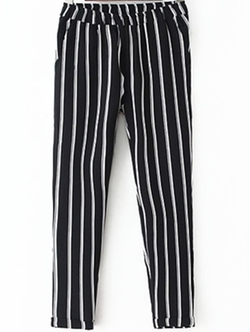 Romwe - Elastic Waist Vertical Striped Pants