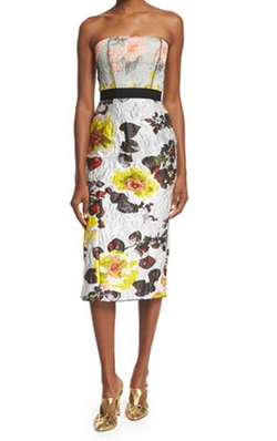 Oscar de la Renta - Strapless Mixed-Floral Cocktail Dress