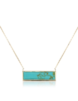 Laura Lee - Gold Turquoise Slab Necklace