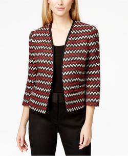 Kasper  - Chevron-Print Tweed Blazer