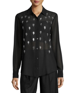 Michael Michael Kors - Long-Sleeve Embellished Blouse
