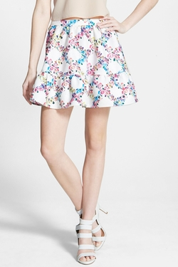 Lucca Couture - Floral Jacquard Miniskirt