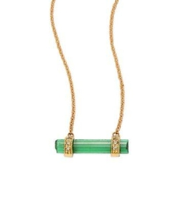 Jacquie Aiche - Diamond, Green Tourmaline & 14K Yellow Gold Bar Pendant Necklace