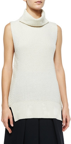 Vince - Ribbed Sleeveless Turtleneck Sweater
