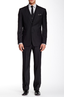 Star USA By John Varvatos  - Trim Fit Three-Piece Wool Suit