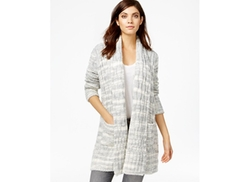 Rachel Roy  - Printed Cable-Knit Cardigan