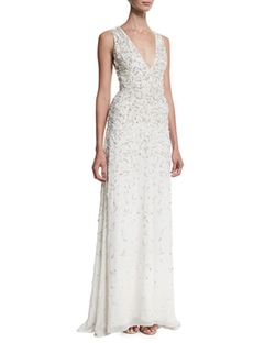 Alice + Olivia - Deep V-Neck Embellished Gown