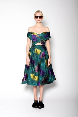 Christian Siriano - African Floral Taffeta Swing Skirt