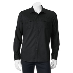 Marc Anthony  - Slim-Fit Military Button-Down Shirt