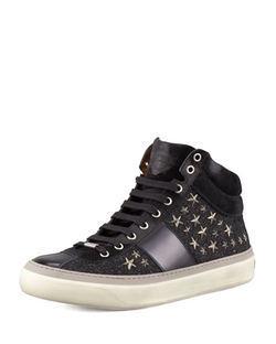 Jimmy Choo - Star-Studded Hi-Top Sneakers