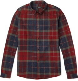 A.P.C. - Button-Down Collar Checked Wool-Blend Flannel Shirt
