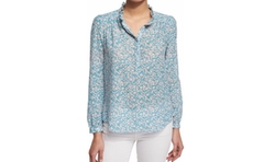 Rebecca Taylor - Button-Front Floral-Print Semisheer Blouse