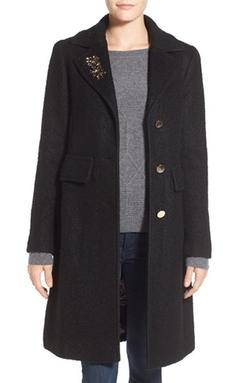 Eliza J - Embellished Bouclé Reefer Coat