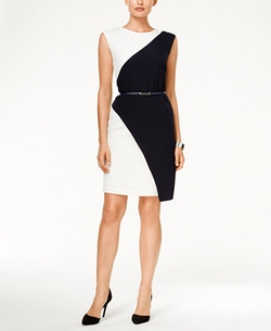 Sandra Darren - Colorblocked Belted Sheath Dress