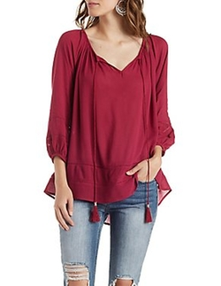 Charlotte Russe - Tassel Front Peasant Blouse