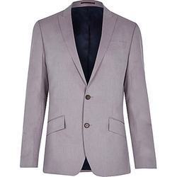 River Island - Pink Linen-Blend Slim Blazer