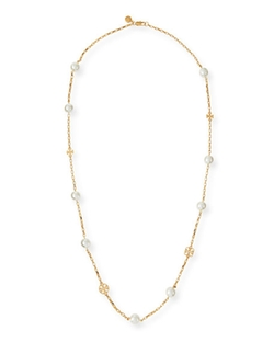 Tory Burch  - Evie Pearly Logo Rosary Necklace