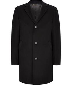 Austin Reed   - Single-Breasted Black Short Wool Coat