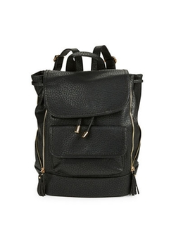Kensie - Zip-Accent Faux Leather Backpack
